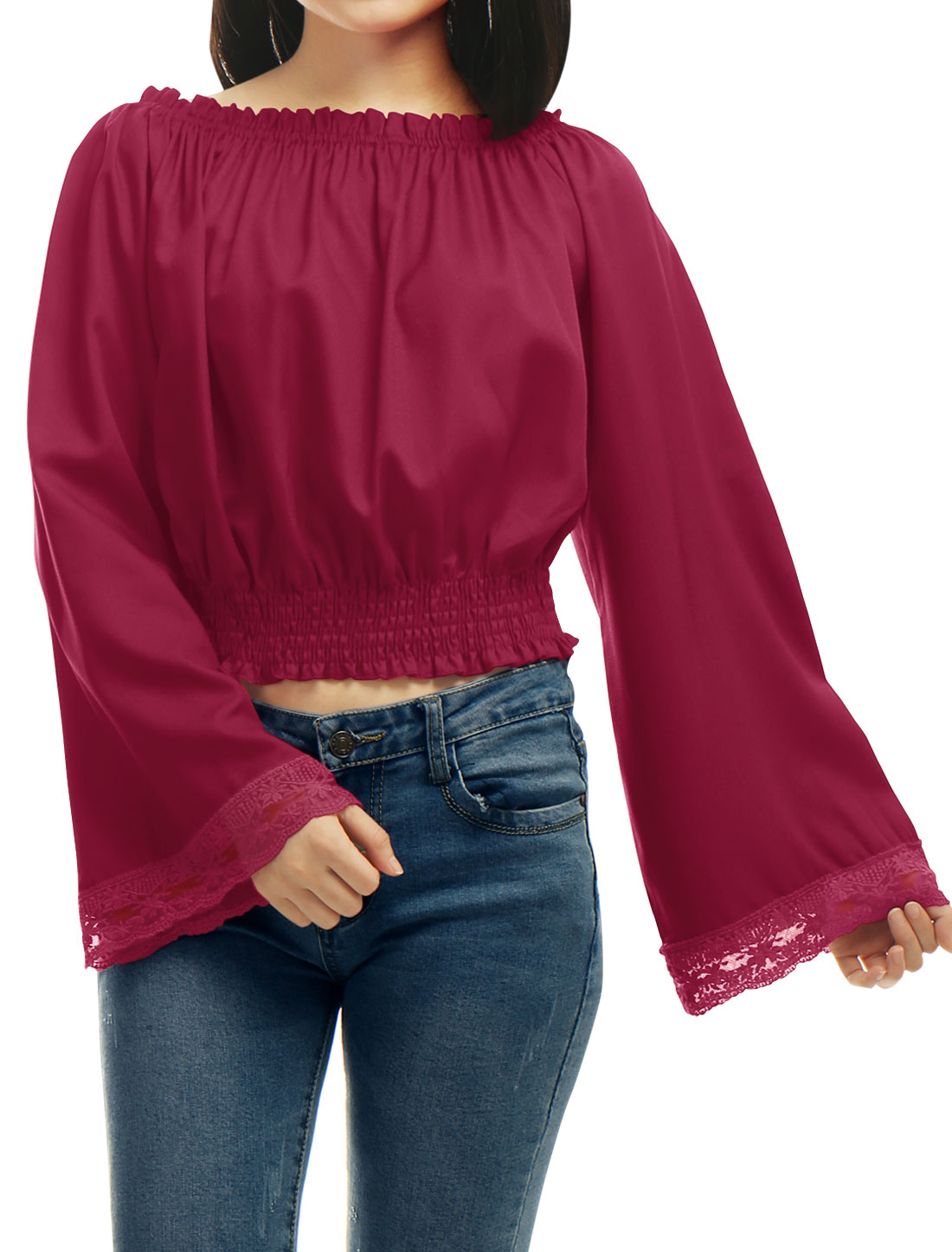 Women-Off-Shoulder-Bell-Sleeves-Lace-Panel-Cuffs-Blouse