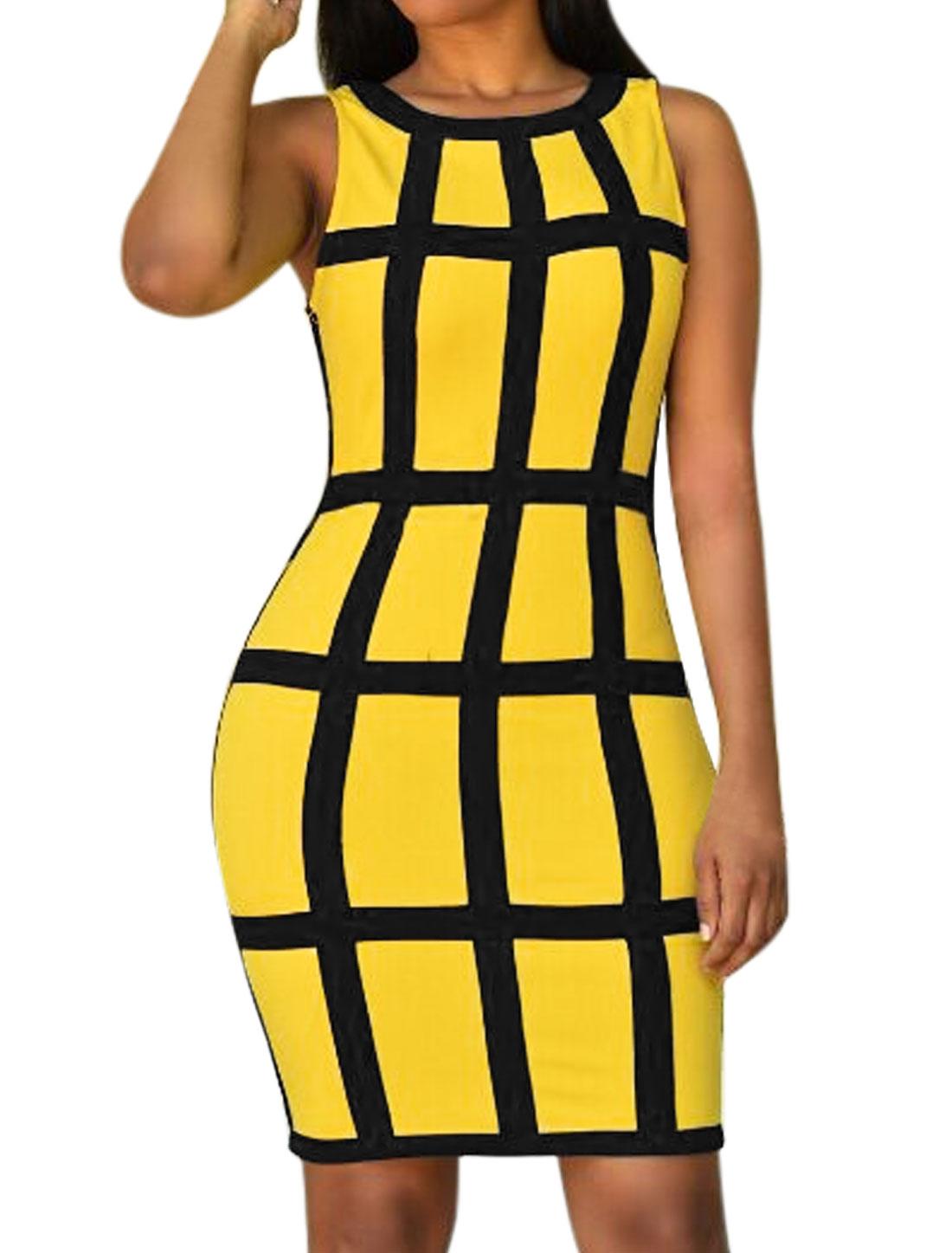 Women-Round-Neck-Contrast-Color-Checks-Slim-Fit-Tank-Dress