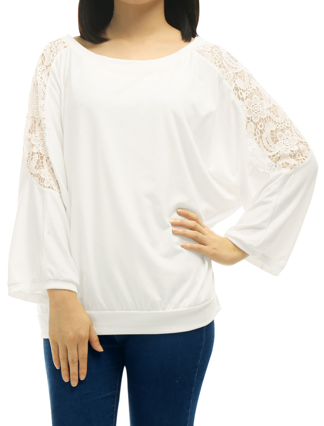 Women-Round-Neck-3-4-Batwing-Sleeves-Crochet-Panel-Loose-T-shirt