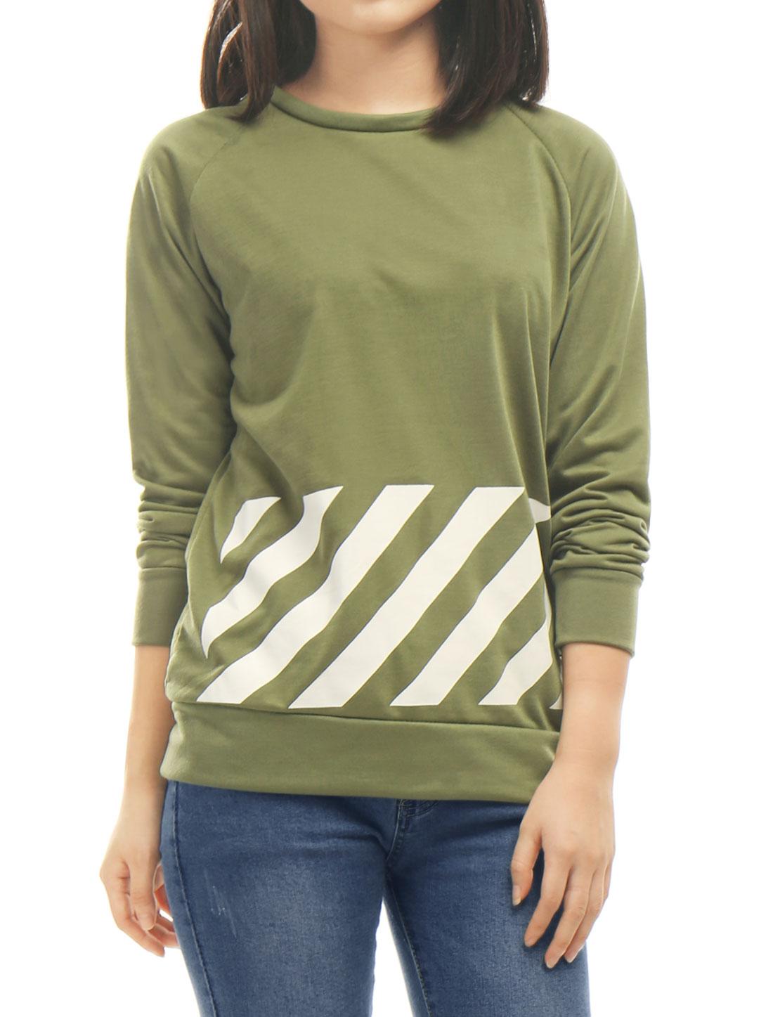 Women-Crew-Neck-Raglan-Long-Sleeves-Stripes-PU-Panel-T-shirt