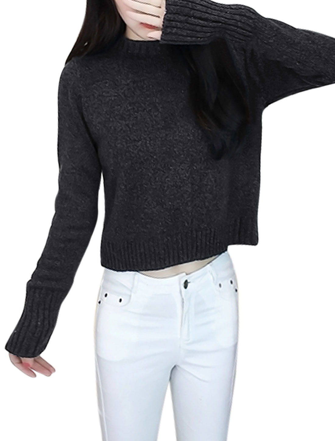 Women-Crew-Neck-Long-Sleeves-Lace-Up-Inverted-Pleated-Back-Knit-Top