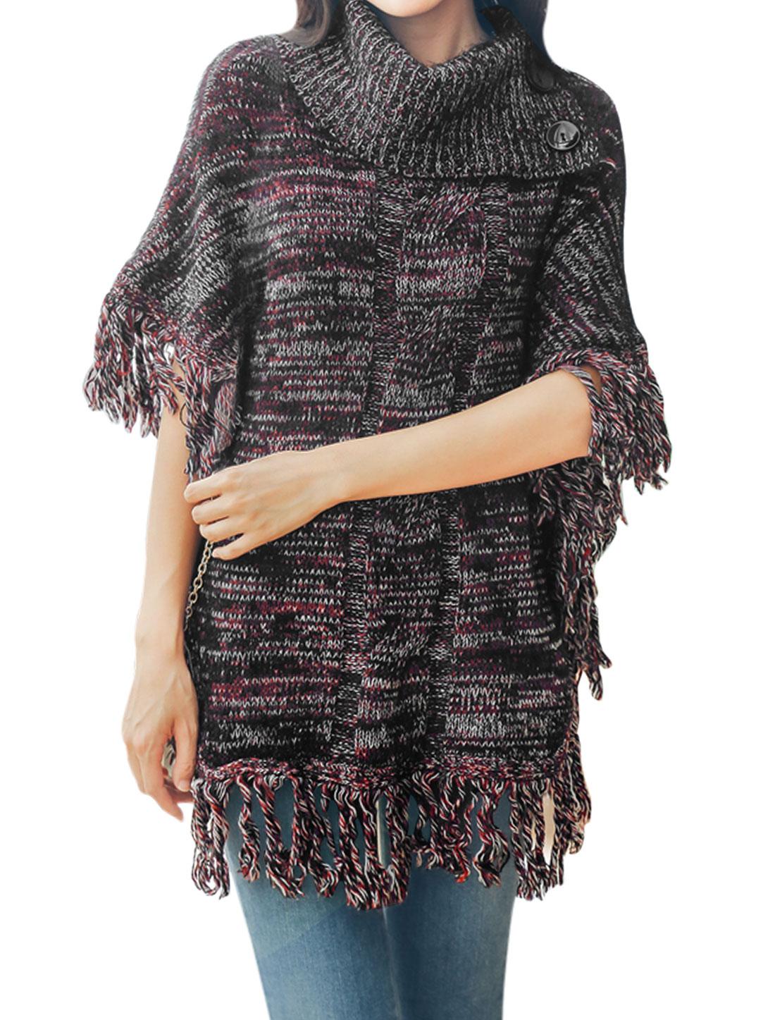 Women-Turtle-Neck-Batwing-Sleeves-Tassels-Sweater-Poncho