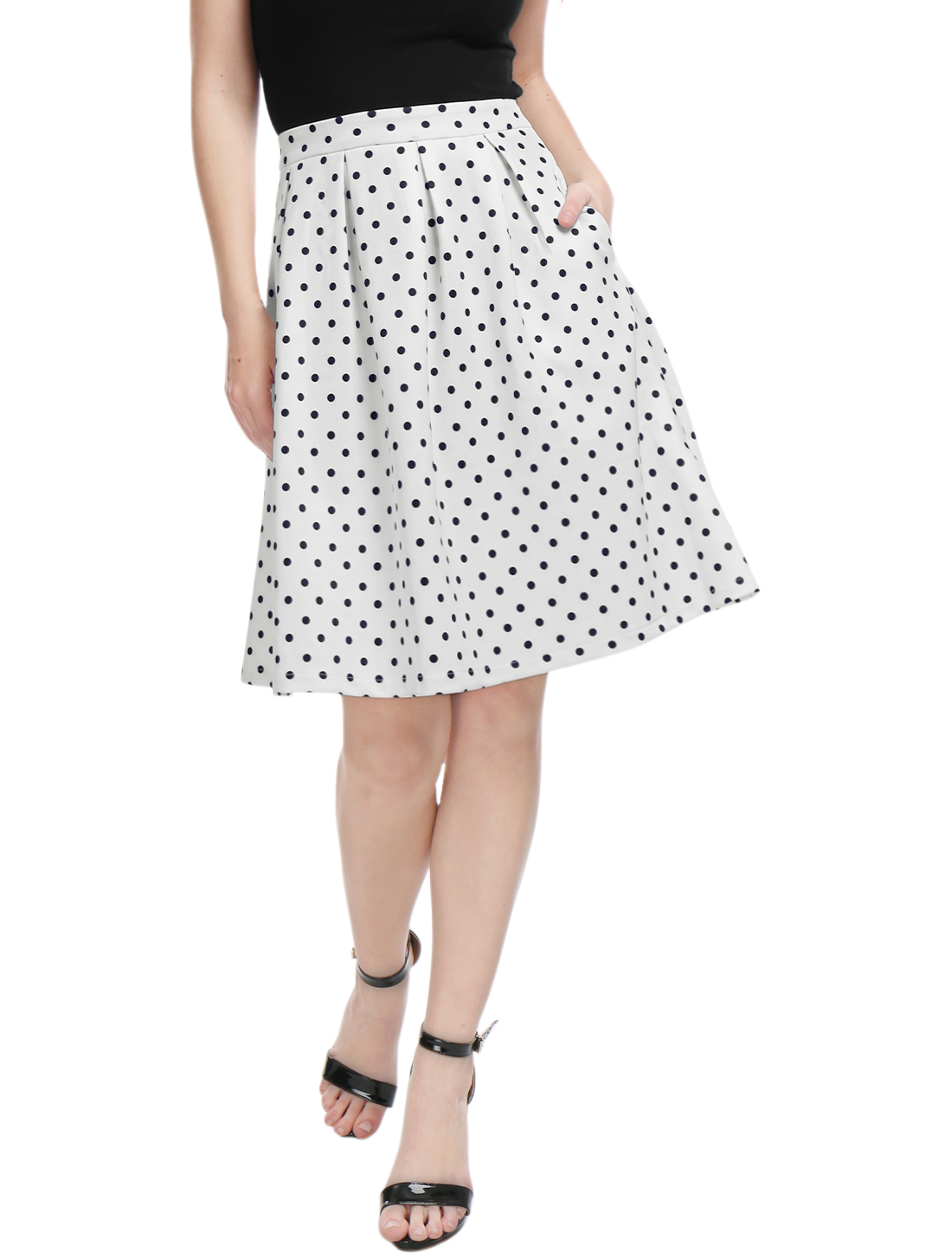 Women-Side-Pockets-Box-Pleated-Polka-Dots-Prints-Full-Skirt