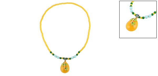 Outside Lady Plastic Bead Leaves Decor Pendant Chinese Style Necklet Necklace