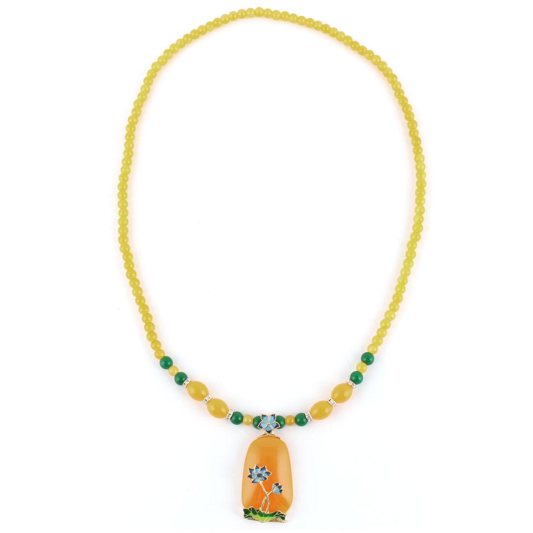 Travel Plastic Bead Flower Decor Pendant Necklet Necklace Ornament Decoration