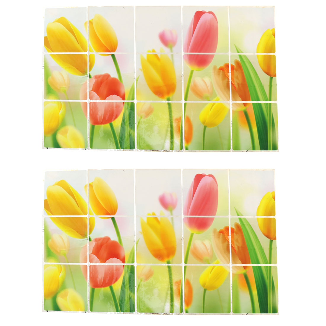 Home PVC Tulips Pattern Oil Water Proof Wall Window Sticker Multicolor 2pcs