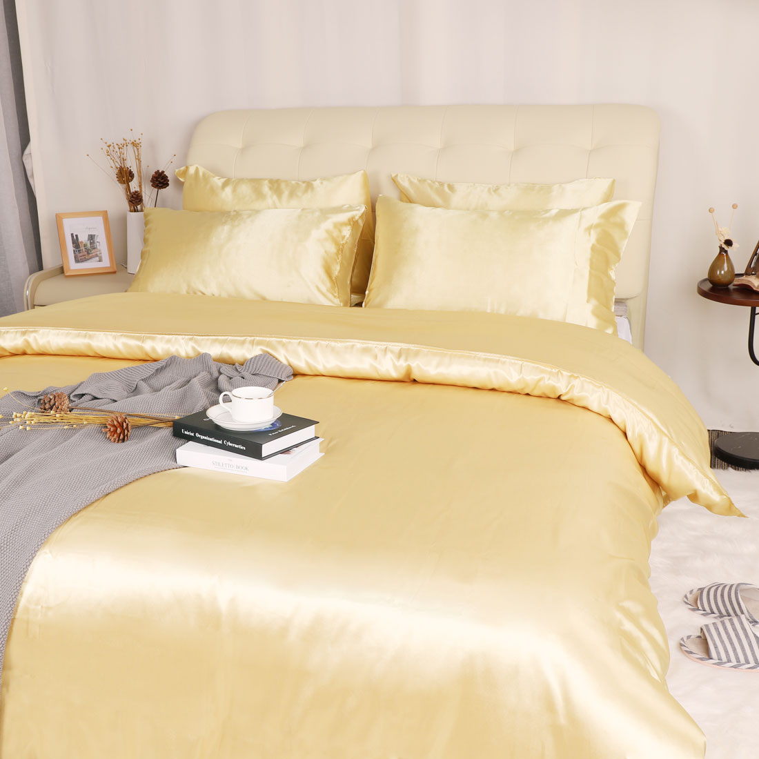 3-Piece-Home-Bedding-Satin-Silk-Duvet-Cover-Set-for-Comforter-Blanket-Three-Size thumbnail 2