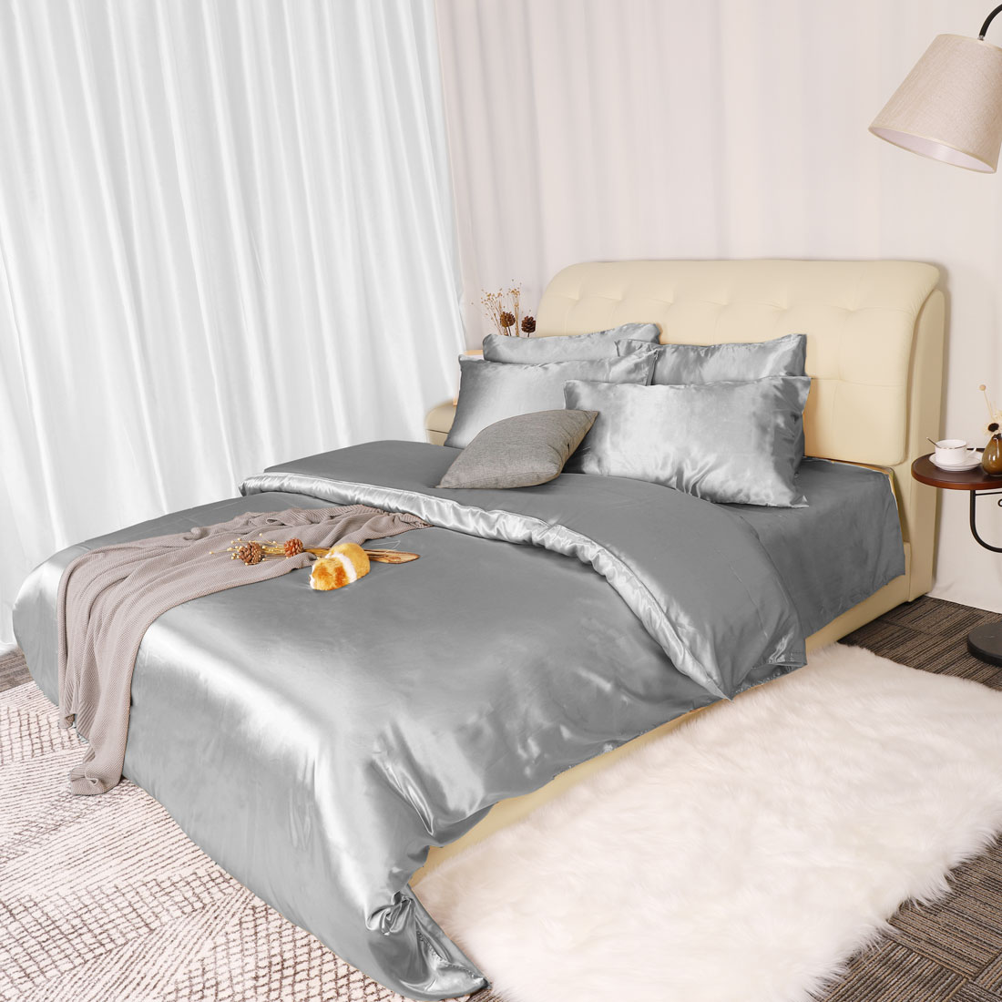 3-Piece-Home-Bedding-Satin-Silk-Duvet-Cover-Set-for-Comforter-Blanket-Three-Size thumbnail 10
