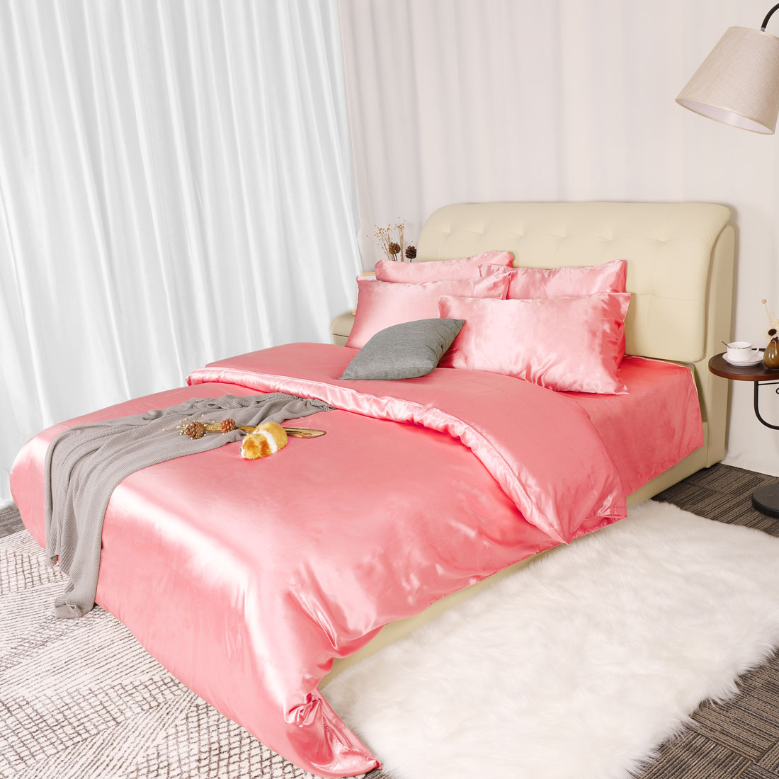 3-Piece-Home-Bedding-Satin-Silk-Duvet-Cover-Set-for-Comforter-Blanket-Three-Size thumbnail 12