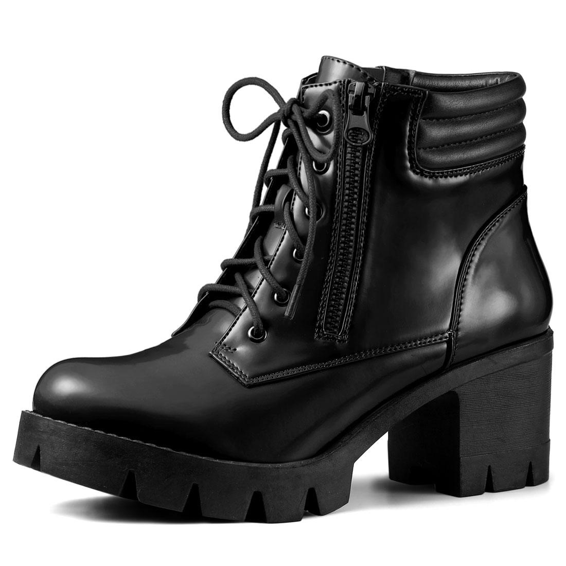 Allegra-K-Women-039-s-Round-Toe-Side-Zipper-Combat-Block-Heel-Ankle-Boots thumbnail 8