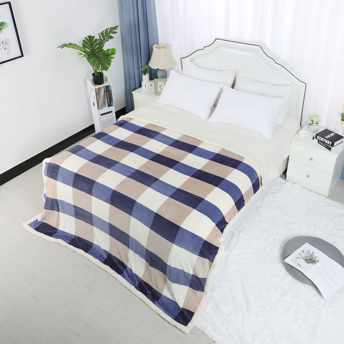 Home-Fleece-Soft-Blanket-Plush-Plaid-Pattern-Bed-Blanket-Twin-Full-Queen-Size thumbnail 14