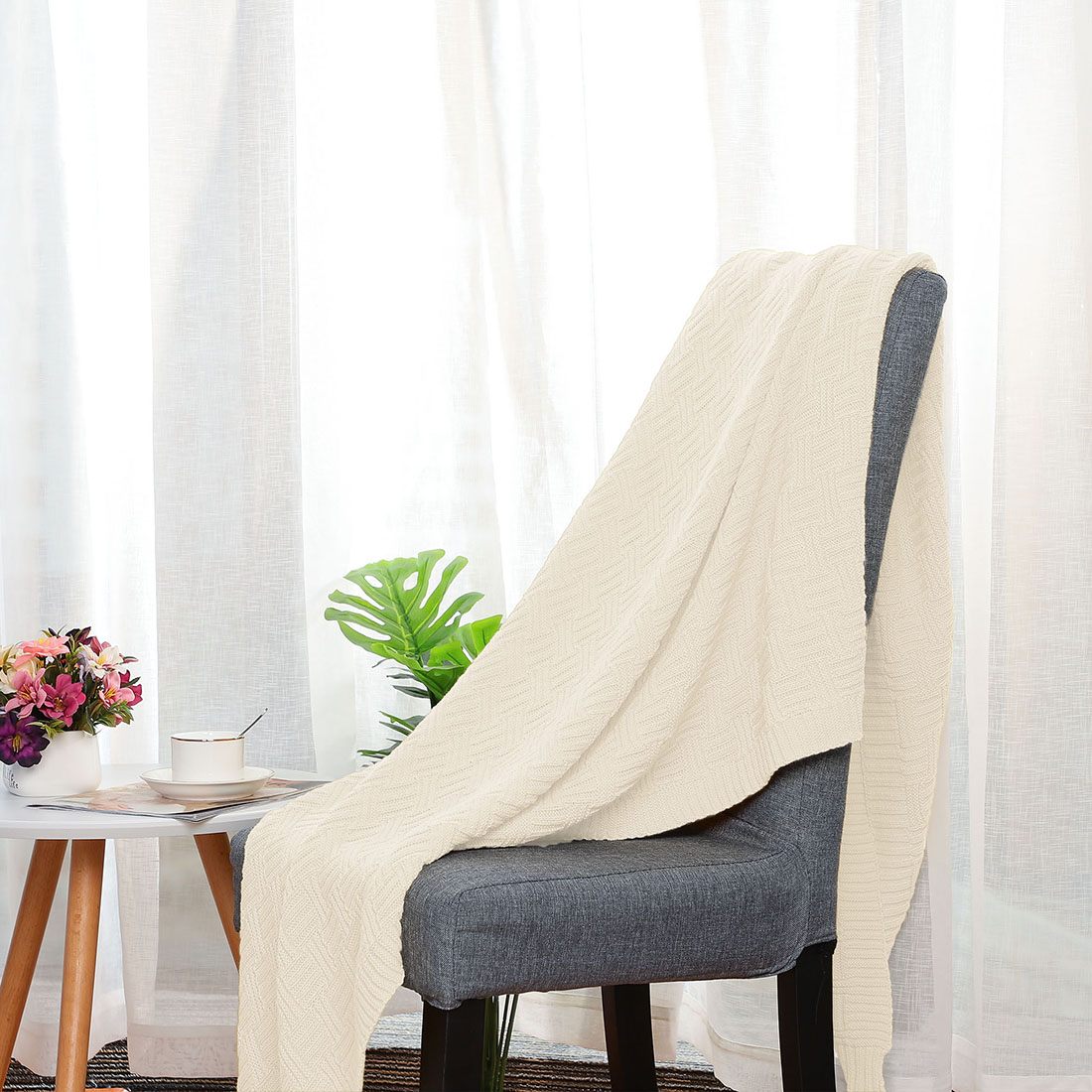 Lightweight-Warm-Soft-100-Cotton-Cable-Knit-Throw-Blanket-Sofa-Bed-Travel-Throw thumbnail 13