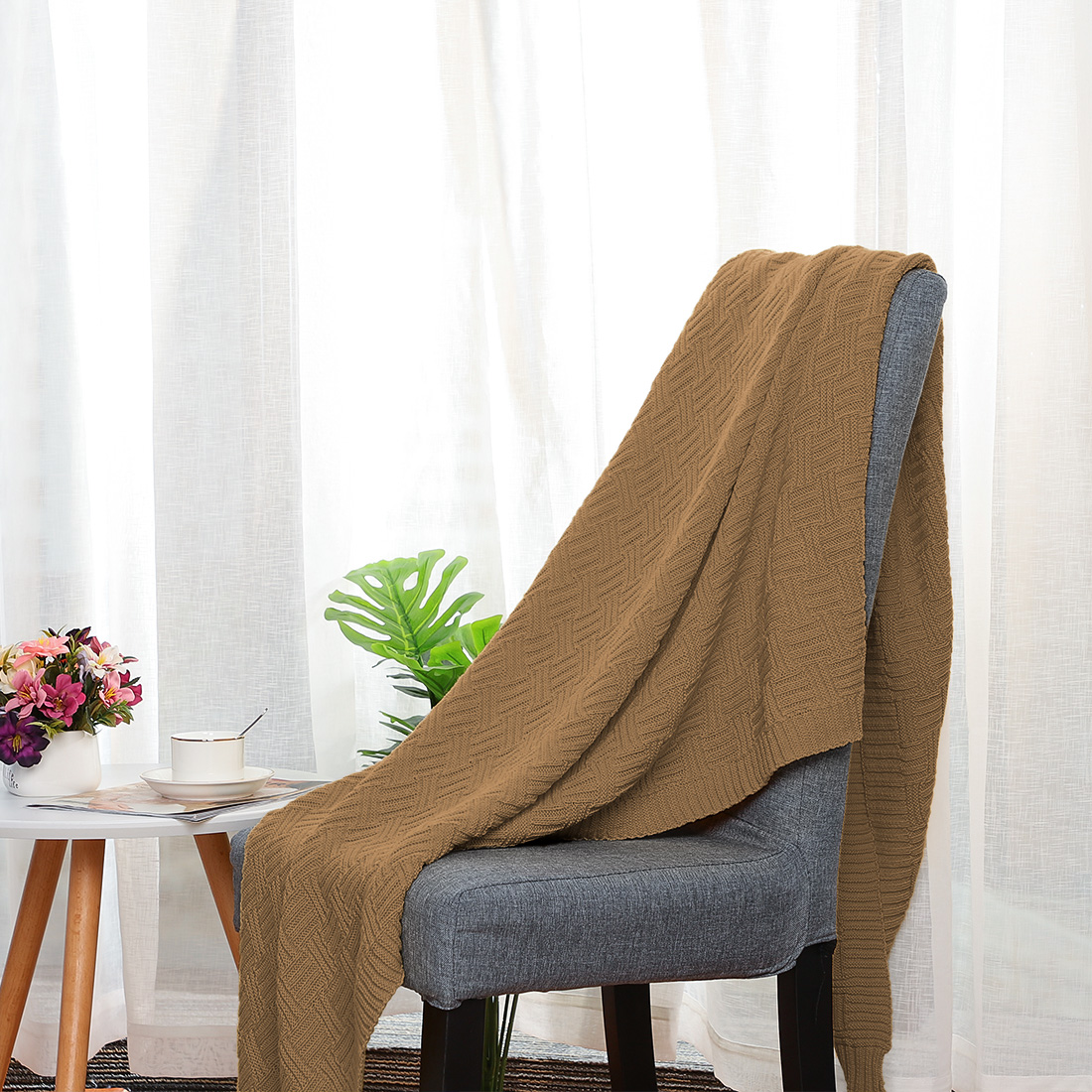 Lightweight-Warm-Soft-100-Cotton-Cable-Knit-Throw-Blanket-Sofa-Bed-Travel-Throw thumbnail 22