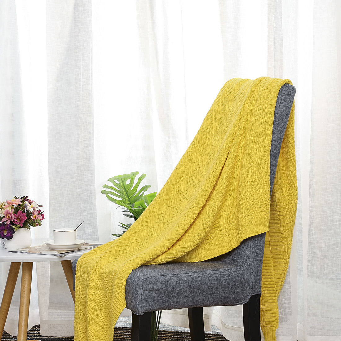 Lightweight-Warm-Soft-100-Cotton-Cable-Knit-Throw-Blanket-Sofa-Bed-Travel-Throw thumbnail 14